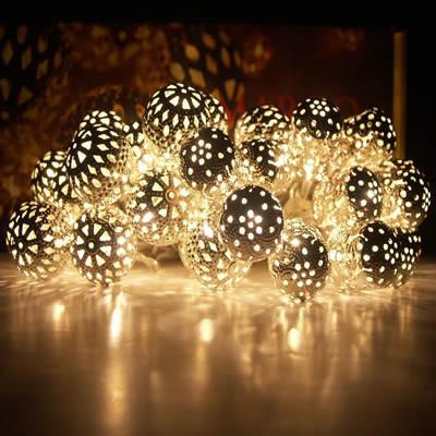 2M 20 Silver Balls Fairy Lights - Warm White