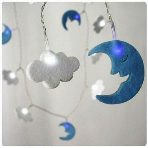 Battery String Lights Nz : 3m Cloud and Moon Battery String Fairy Lights - White - Party Lights Company