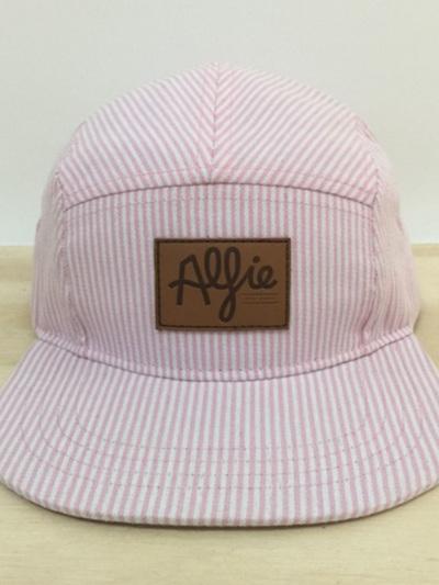 Alfie Children's Apparel Pink + White Stripe Denim '5 Panel Cap'