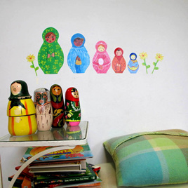 Babushka dolls wall decal  StickyTiny