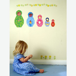 Babushka dolls wall decal  Mini Mural