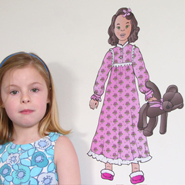 Bedtime Abby dress up doll wall decal