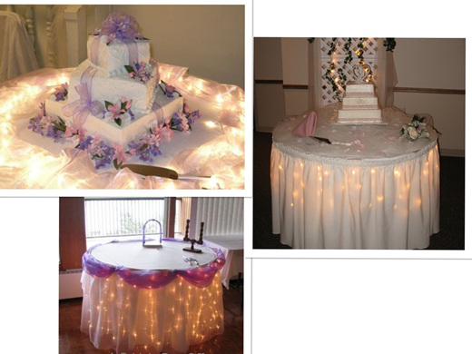 cake table   party lights company