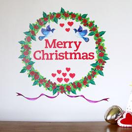 Christmas Wreath wall decal  Mini Mural