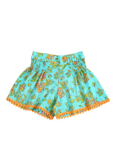 Coco and Ginger Bluebell Shorts - Aqua Greek Meadow