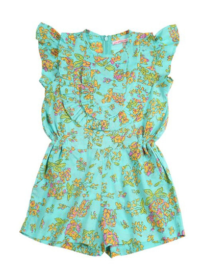 Coco and Ginger Peony Jumpsuit - Aqua Greek Meadow