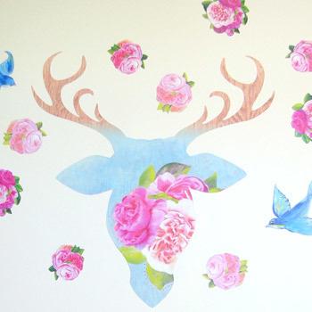 Deer Rose wall decal