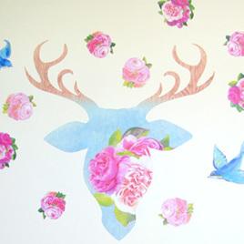 Deer Rose wall decal  Mini Mural