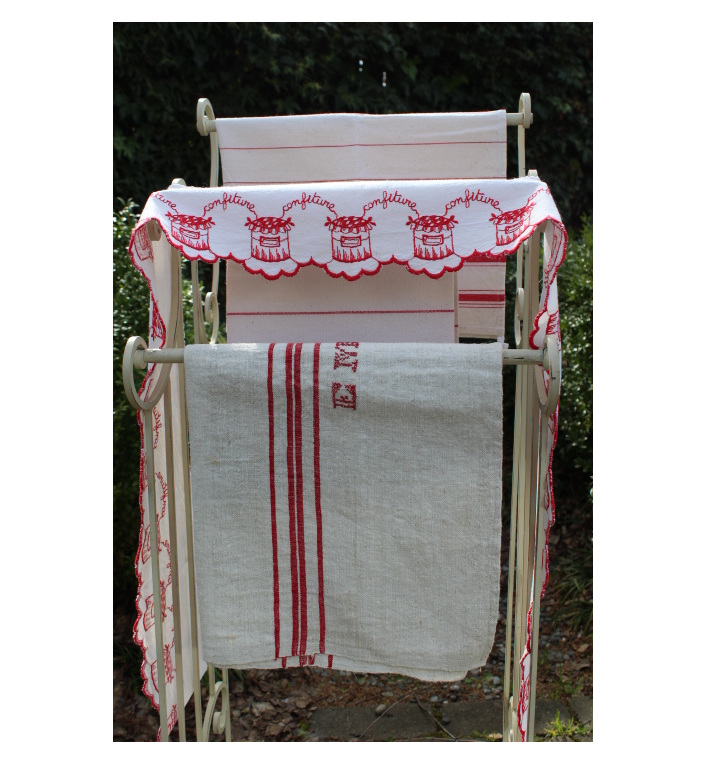 french cafe curtain valance vintage french linen french farmhouse ...