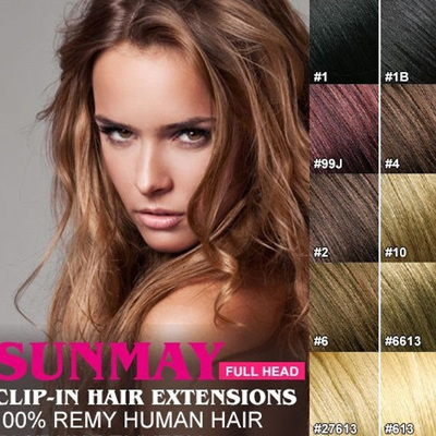 Full Head Clip 100% Remy Human Hair Extensions