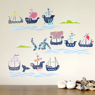 Historic Sailing Ships wall decal  Mini Mural
