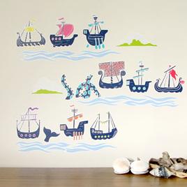Historic Sailing Ships wall decal  Mini Mural