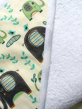Hooded Towel - Green and Black Elephants