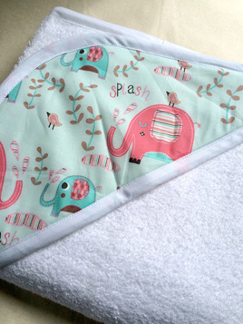 Hooded Towel - Pink and Blue Elephants