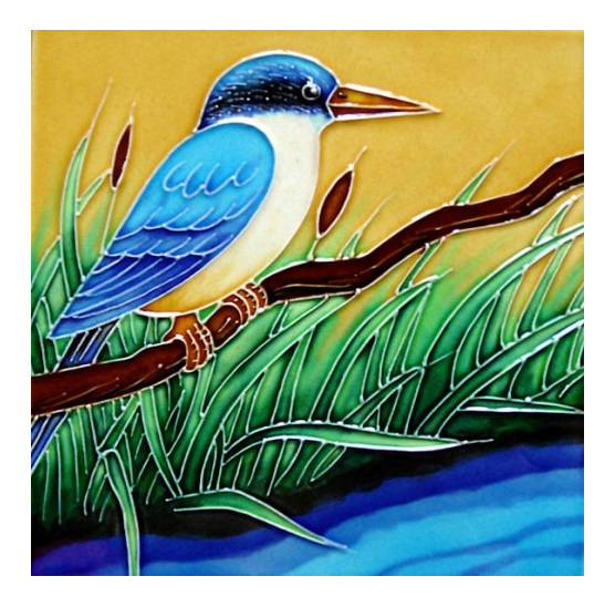 Kingfisher 15x15cm New Zealand Ceramic Art Tile Images