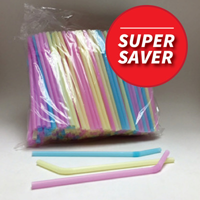 Pastel Coloured Flexi Straws