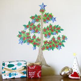 Pohutukawa Christmas tree wall decal Mini Mural