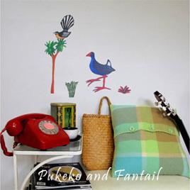 Pukeko & Fantail wall decal  StickyTiny