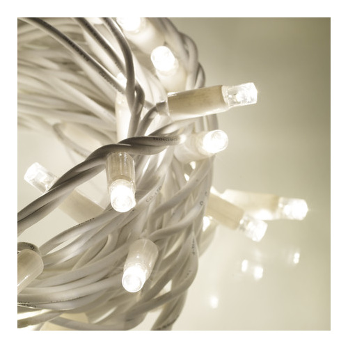 Rubber Wire 10m Connectable Outdoor Fairy Lights 100LEDs - White - Party Lights Company