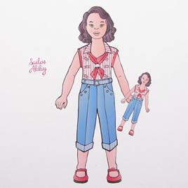 Sailor Abby dress up doll wall decal