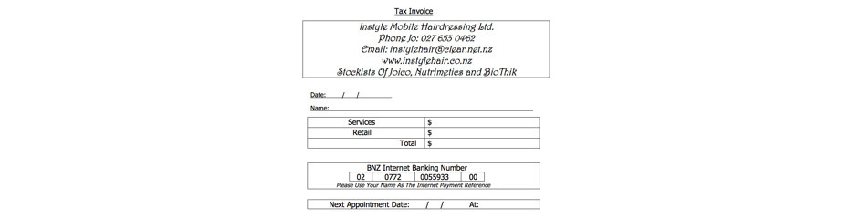 Price List Instyle Mobile Hairdressing