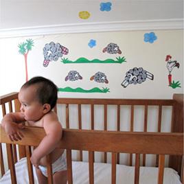 Sleepy Sheepy wall decal  Mini Mural