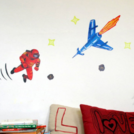 Spaceman Red wall decal  StickyTiny
